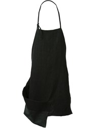Isabel Benenato Leather Pocket Asymmetric Apron Black
