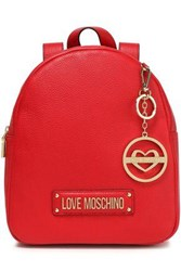 Love Moschino Woman Logo Embellished Textured Leather Backpack Red