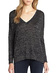 Joie Calee Metallic V Neck Sweater Heather Mushroom