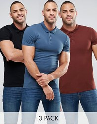 Asos 3 Pack Muscle Polo Shirt In Pique Multi