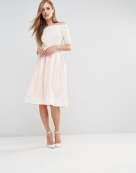 Vesper Structured Midi Skirt With Bow Back Nude White Pink