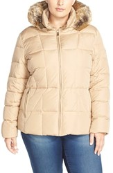 Plus Size Women's Calvin Klein Hooded Down And Feather Fill Jacket With Faux Fur Trim Khaki