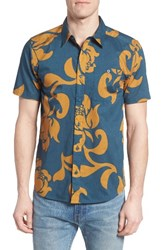 Patagonia Men's 'Go To' Slim Fit Short Sleeve Sport Shirt Exotic Floral Glass Blue