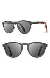 Men's Shwood 'Francis' 49Mm Titanium And Wood Sunglasses Gunmetal Walnut