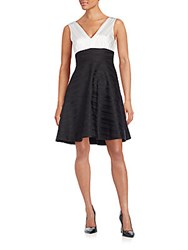 Erin By Erin Fetherston Teresa Colorblock Satin Stripe Fit And Flare Dress Black Ivory