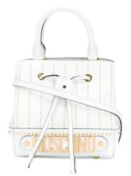 Moschino Studded Logo Cross Body Bag Women Calf Leather One Size White