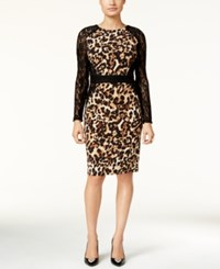 Thalia Sodi Lace Sleeve Animal Print Dress Only At Macy's Leopard