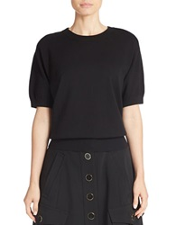 Dkny Cropped Short Sleeve Sweater Black