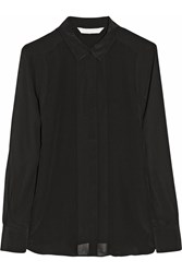 W118 By Walter Baker Joy Paneled Silk Crepe Shirt Black