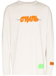 Heron Preston Long Sleeve Стиль Graffiti T Shirt Grey