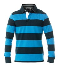 Eden Park Wide Striped Rugby Polo Shirt Blue