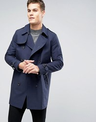 Asos Shower Resistant Double Breasted Trench In Navy Navy