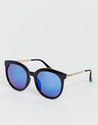 Jeepers Peepers Retro Sunglasses With Blue Tinted Lens Black