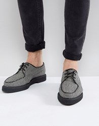 Asos Lace Up Creeper Shoes In Checkerboard Textile Multi
