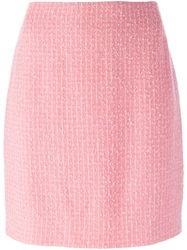 Chanel Vintage Boucle Knit Skirt Pink And Purple