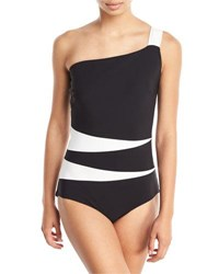 Chiara Boni La Petite Robe Calipso One Shoulder Colorblock One Piece Swimsuit Multi