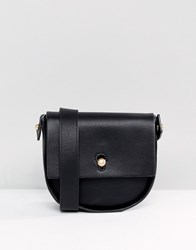 Warehouse Keyhole Saddle Crossbody Bag Black