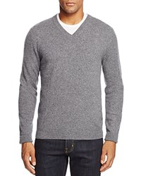 Bloomingdale's The Men's Store At Cashmere V Neck Sweater Grey Twist Combo