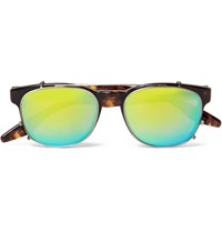 Barton Perreira Byron Tortoiseshell Aviator Style Optical Glasses With Clip On Mirrored Uv Lenses Brown