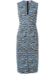 Scanlan Theodore Striped Floral Weave Dress Blue