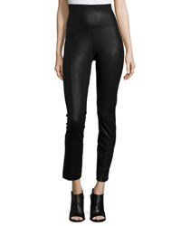 Three Dots Textured And Coated Leggings Black