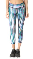 Terez Liquid Metal 2.0 Tall Band Capri Leggings Multi