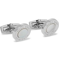 Hugo Boss T Round Silver Tone Mother Of Pearl Cufflinks White