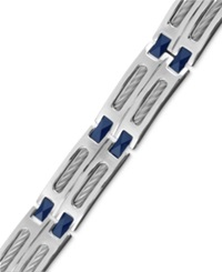 Macy's Men's Stainless Steel And Blue Ceramic Bracelet Cable Link