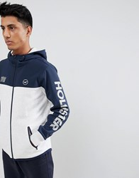 Hollister Icon Logo Nylon Hybrid Full Zip Hoodie Sleeve In Silver Grey Navy Grey Navy