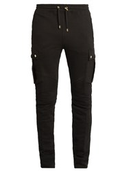 Balmain Cargo Slim Leg Cotton Track Pants Black