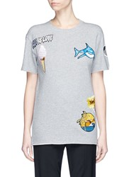 Stella Mccartney Ice Cream Surf Patch French Terry T Shirt Grey