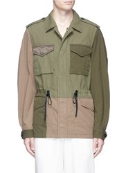 3.1 Phillip Lim Drawstring Waist Patchwork Canvas Field Jacket Green
