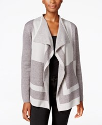 Alfred Dunner Petite Crescent City Colorblocked Cardigan Charcoal