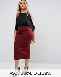 Asos Curve Midi Pencil Skirt In Jersey Oxblood Red