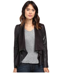Blank Nyc Faux Suede Drape Jacket In Hot Line Bling Black Women's Coat