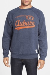 Original Retro Brand 'Auburn Football' Slim Fit Raglan Crewneck Sweatshirt Blue