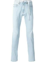 Off White Striped Back Skinny Jeans Blue