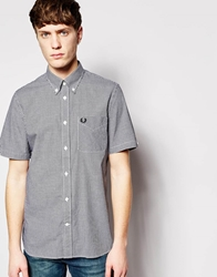 Fred Perry Shirt In Gingham Check Short Sleeves Black