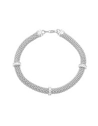 Lord And Taylor Cubic Zirconia Station Popcorn Bracelet Silver