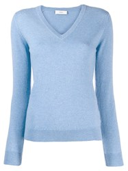 Pringle Of Scotland V Neck Sweater Blue