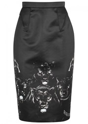 Givenchy Panther Print Satin Pencil Skirt Black