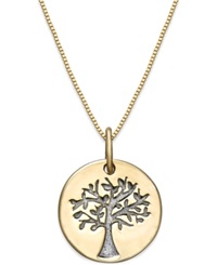 Macy's Cubic Zirconia Family Tree Pendant Necklace In 10K Gold