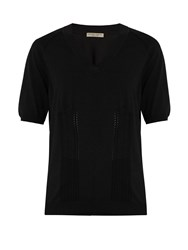 Bottega Veneta V Neck Cotton Blend Sweater Black