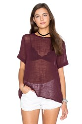 Enza Costa Cotton Gauze Short Sleeve Trapeze Top Burgundy
