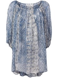 Mes Demoiselles Lurex Printed Blouse Blue