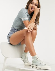 Monki Valle Knitted Short Sleeve Polo Shirt With White Stripe In Blue