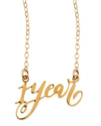 1 Year Anniversary Calligraphy Necklace Brevity Gold