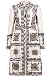 Valentino Embroidered Wool And Silk Blend Coat Beige