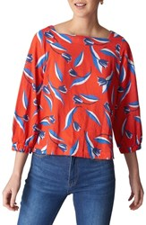 Whistles Tulip Print Linen Top Red Multi