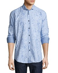 Bogosse Floral Check Long Sleeve Sport Shirt Light Blue Men's